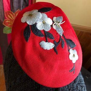 VTG Newsboy Cabbie Hat Red Floral Appliqué Knit